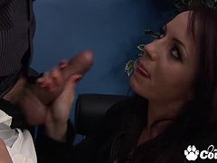 Big tits brunette Sasha Rose face fucked and gets stabbed by huge meat pole