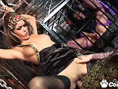 Big tits brunrette vimpire Daisy Marie and Jett Black fucks huge cock and gets facial