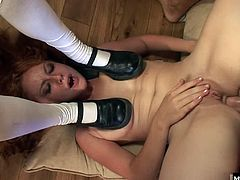Tobi is a slutty redhead who likes to get her asshole fucked hard. Theyre in a threesome with their buddy, Lee, and his cock is about as big as they come. Tobi takes it deep in her ass and then deepthroats Lee to take his load in her mouth