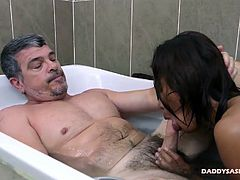 This cute young Asian boy loves having sex in the shower with me. Russel gets horny for some squeaky clean daddy cock in the shower and bath tub. After some cock sucking and ass play, we get right down to the bareback fucking in close quarters.