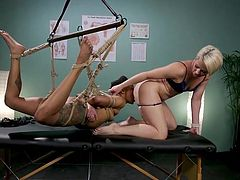 Just look at this cunning rope bondage and how professionally Helena Locke uses it to dominate, and satisfy her hot lesbian lover. Ebony babe, Nikki Darling, gets punished and made to lick Nikki's wet pussy