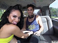 Oh, how easily he fell into this trap! It was enough to show him her big round tits, and he was ready for anything... Victoria June showed the guys her big boobs and bubble butt, and they agreed to join her in the bang bus and... Must watch!