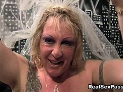 Dirty cum loving fat wife has an orgy with her stretch marked Bridesmaid