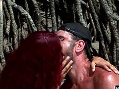 The sun is intense, beaming down on their glistening bodies, as they take turns tasting their sexual organs. Needing more than just oral, Marcia gets his slick dick balls deep in her suntanned pussy when he fucks her five ways before letting her slurp down his sperm.