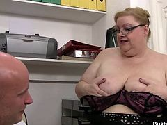 Huge plumper riding cock at work place