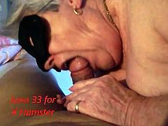 Masked granny sucking, licking, playing in fishnet stockings