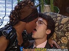 This extremely hot african maid really knows how to take care of her men as she proceeds to ride hard on one lucky white guy to make him cum.