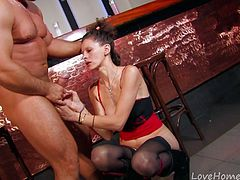 This trim mature gets her pussy fingered and teased by a young stallion. She sucks his big hard dick like a pro before he bends her over and plows into her. Then he lifts her up and takes her doggy-style.