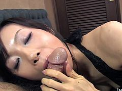 She gets on her knees and gives a POV blowjob just for you She takes it in and out, sucking on the head and working the shaft with her hungry tongue. She goes all the way to the balls and the big bushy pubes before her man pops in her mouth. She eagerly licks up all his jizz and swallows it down the hatch