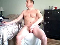 sweet hung dad jerking his cock