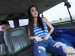 She saw the bang bus and needed a ride, so she got in hoping to get fucked. Doesn't she look amazing in her tight jeans? The sexy lady bent over and got plowed hard in her cunt right in the backseat of the van.