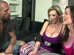 Kendra Lust joins a hot babe for a fuck with a handsome lover
