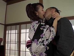 Naughty  Yui Oba enjoys man licking and sucking her tits