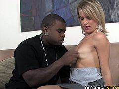 Blonde MILF Jessie Fontana picks up Rico Strong on the street. It doesn't take a long and she sucks and fucks his big black cock.