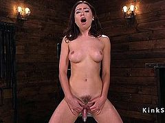 Hairy pussy babe fucks different machines