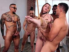 Take your time and enjoy hot interracial gang bang with redhead slutty babe, Maya Kendrick. She has a perfect body, cute face and an incredibly tight pussy, and enjoys getting her body covered with warm cum. You will love to see how this sexy babe puts her wet holes to work!