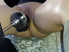 Horny wife fucks sex machine
