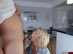 Blonde MILF stepmom wants a stepsons cum in her mouth