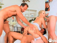 Blonde Sandra De Marco Double penetrated by huge dicks and getting her pretty face jizzed