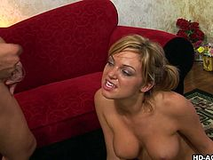 Blonde Jessi shaved pussy blasted hardcore with monster cock
