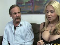 Busty blonde Sarah sucks and fucks Jack Napier's big black cock while her husband jerks his small white cock.
