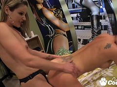 Delicious Melissa Jacobs and Samantha Ryan pussy dildoing and banging with strapon
