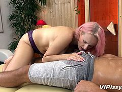 This horny masseuse was really able to surprise him. First, she undressed in front of him, exposing her huge breasts with big pierced nipples. Then she spread her pussy lips and a warm stream of urine splashed on his belly and dick...