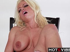 Busty blonde Britney Amber strips and dildoes her shaved pussy with her cockring vibrator