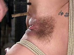 This gorgeous blonde milf with big round tits should be punished for being so slutty and sassy. Kinky rope bondage and this cunning pussy torture, is something that out tough master provided for her. Join and have fun!