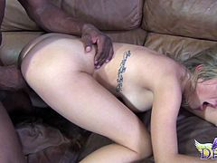 Ava Devine shaved pussy logged hardcore compactly in interracial porn