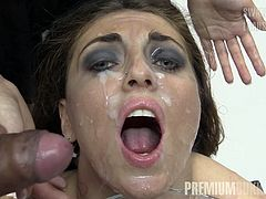 Beautiful Russian babe Nona has got covered all her face in cum and swallows over 50 huge cumshots.