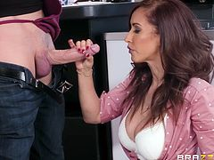 This milf has always had a crush on the guy at the coffee shop, and today she is going to get something special with her order. She needs that big cock and she will do anything to get it. After deepthroating his dong, she bends over to get her twat licked.