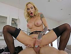 Tattooed mommy sarah jessie rides the hard cock reverse cowgirl