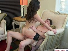 Sexy babe Lacey Channing puts on lingerie and seduces her frigid boyfriend