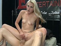Sexy blonde slut with small tits loves his long cock