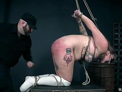 Fat whore Isabel is spanked and punished in the dark basement