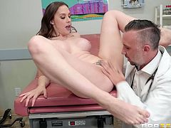 Of course, he brazenly lies and of course medical examinations are generally held differently, but this busty brunette likes to feel his sensual tongue on her wet pussy... Countless doctor, patient scenarios come to life on this site with the sexiest and bustiest doctors imaginable! Join!