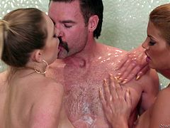 Horny guy gets his big cock massaged by Mercedes Carrera and her friend