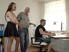 Ornella and her boyfriend were chilling out after party watching selfies they made. Unfortunately, his father was interrupting them every half of an hour, since he had some troubles with...