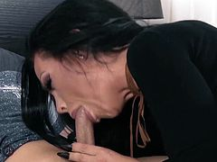 Gorgeous big tit dark haired MILF walks in on her friend while hes masturbating. Instead of walking away, this hot mom decides to help finish him off!