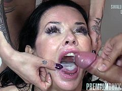 Veronica Avluv swallows 61 huge mouthful cumshots