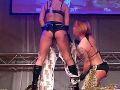 extreme hot public flexible lesbian milf show on public sex fair porn stage