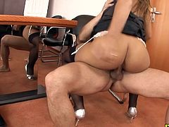 This secretary got caught smoking and sleeping more than once by her boss and she gets a huge anal punishment for it