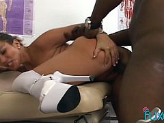 BBC fucks sex-starved nurse in sexy uniform and cums in her mouth
