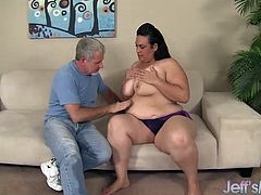 Horny BBW gets her kissed tits sucked and she sits on his face and he eats her pussy Then he fucks her pussy deep and good in many positions He cums in her mouthlicked too Then gets facialled