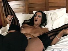 Persia Monir is having stay in a hotel room and wants to relieve stress from work. What best she could think of is ordering a male companion except that she wants him to fuck her pussy and play with her titties.