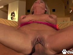 Busty blonde Kayla Synz gets stabbed in doggystyle by big cock and gag a big sperm chunk