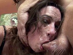 Sperm lover brunette Amber Rayne gets her face fucked hard and gagging massive cock
