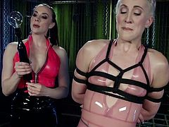 Latex mistress punishes pussy of flat chested bitch Dylan Ryan