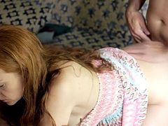 Anal doggystyle clothed redhead